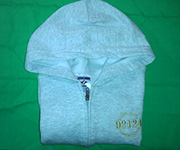 Zippered cotton Hoodie (Grey) w/gold 92124 logo - Youth Large