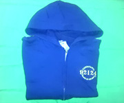 Zippered cotton Hoodie (Navy) w/gold 92124 logo - Youth Large