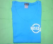 Women V-Neck (Lite Blue) w/white 92124 logo